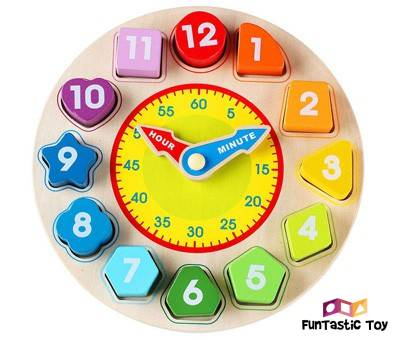 Product image of Wondertoys Wooden Shape Sorting Clock