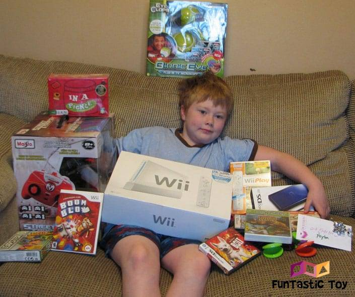 Image of spoiled child with presents