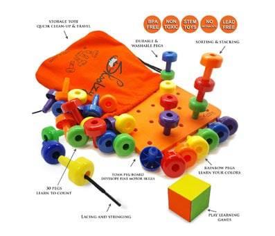 Product image of Skoolzy Peg Board Set30 Lacing Pegs