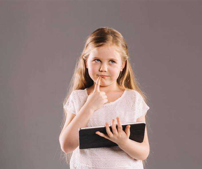 Featured image of thoughtful girl with tablet