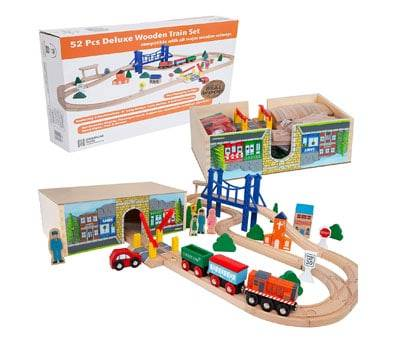 Product image of Orbrium Toys 52 Pcs Deluxe Wooden Train Set