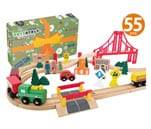Small Product image of Wooden Train Tracks Full Set, Deluxe 55 Pcs